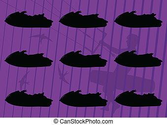 Ski jet water sport motorcycles silhouettes illustration