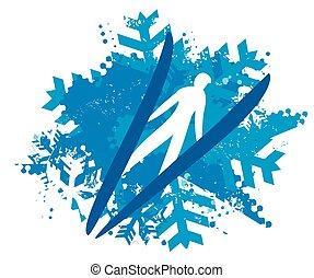 Ski Jumper on Snowflakes grunge background.