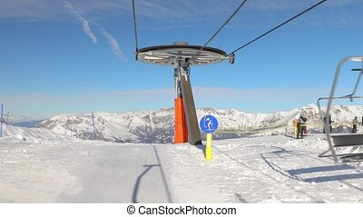 Ski lift ascend - Getting off the ski lift on the top, first...