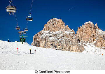 Ski lift at ski resort in Dolomites