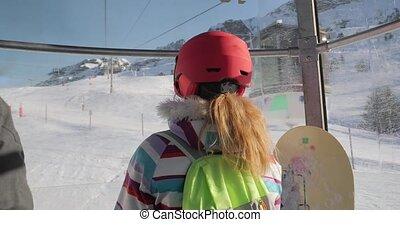 Ski resort, ascending in a cabin ski lift, looking at the slopes, in Alpe d'Huez, France
