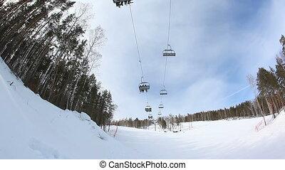 ski lift. fast motion
