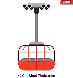Ski Lift Gondola - Sample Ski Lift Gondola. Flat design. Ski...