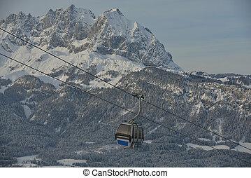 Ski lift gondola in Alps