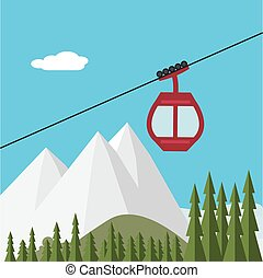 Ski Lift Gondola Snow Mountains, Forest - Vector...