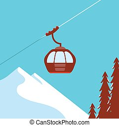Ski Lift Gondola Snow Mountains - vector graphics, modern...