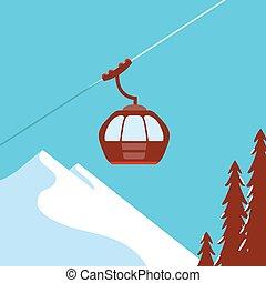 Ski Lift Gondola Snow Mountains - vector graphics, modern ...