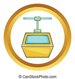 Ski lift gondola vector icon