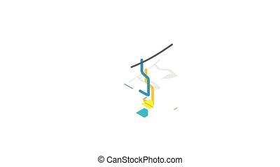 Ski lift icon animation isometric best object on white backgound