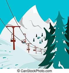 Ski Lift in the mountains - Holiday winter landscape...