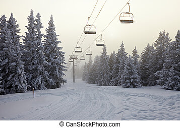Ski Lift in the mountains