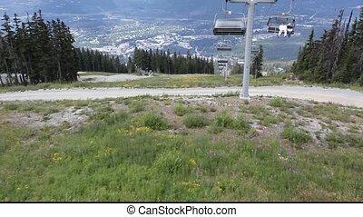 ski lift in whistler mountain, BC - Ski chair lift going...
