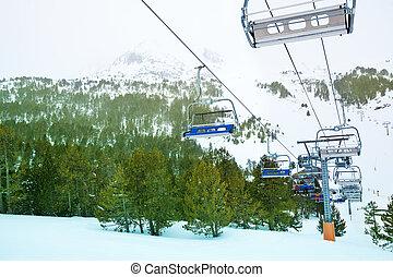 Ski lift in winter resort
