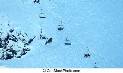 Ski Lift On Sheer Mountainside - Skilift on side of mountain...