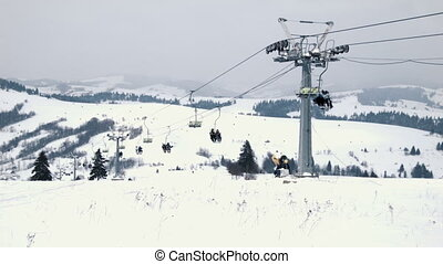 ski lift on the top of hill