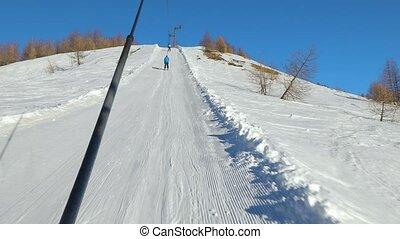 Ski lift pulling - Using ski lift, winter sorts in Val...