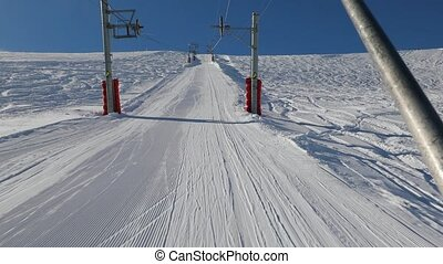 Ski lift pulling - Using ski lift, winter sports in Pra...