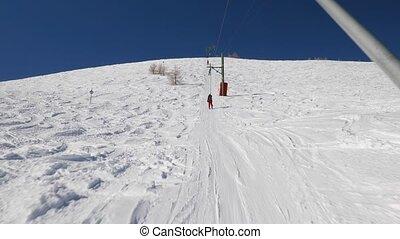Ski lift pulling - Using ski lift, winter sports in Pra Loup...