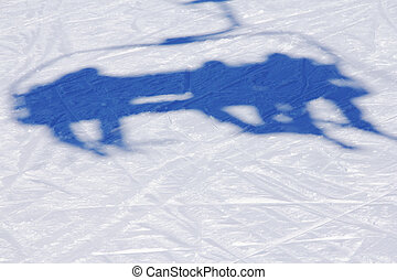Ski lift shadow on the snow