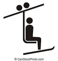 Ski lift sign or symbol; isolated on white background.