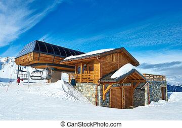 Ski lift station in mountains at winter, Meribel, Alps,...
