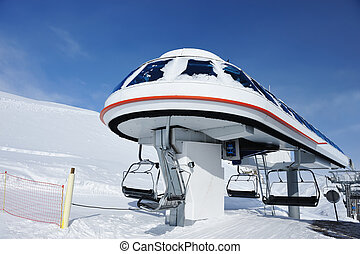 Ski lift station in mountains at winter, Val-d'Isere, Alps,...
