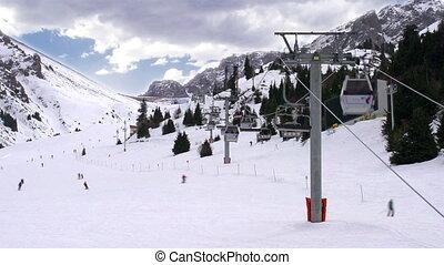 Ski Lift - Time-laps picturesque ski resort. Time-laps