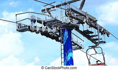 Ski lift wheel elevator against cloudy sky
