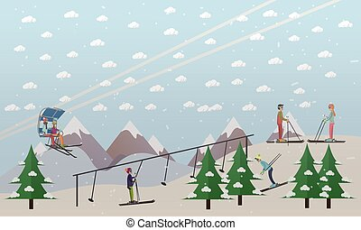Ski lifts service vector illustration in flat style - Vector...