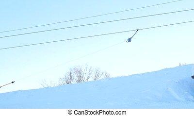Ski lifts. Summy winter day. 4k video resolution.