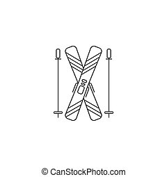 Ski line icon - Ski equipment vector thin line icon. Black...