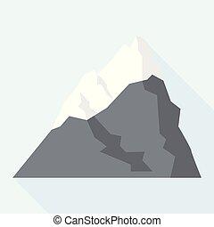 Ski mountain icon, flat style