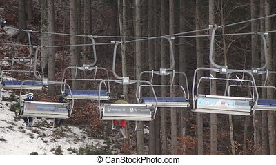 Ski mountain lift sport - View from lift going up mountain....