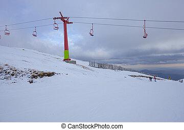 ski mountain resort in Romania, winter scene