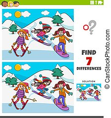 ski, pédagogique, différences, jeu, filles