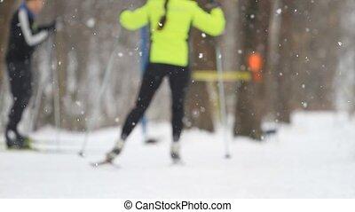 ski, parc, hiver, gens