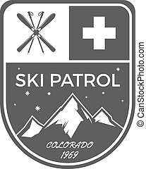 Ski Patrol Label. Vintage Mountain winter sports explorer badge. Outdoor adventure logo design. Travel hand drawn and hipster color emblem. First aid icon symbol. Monochrome design. Wilderness Vector