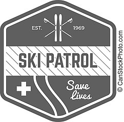 Ski Patrol Label. Vintage Mountain winter sports explorer badge. Outdoor adventure logo design. Travel hand drawn and hipster monochrome emblem. First aid icon symbol. Wilderness Vector