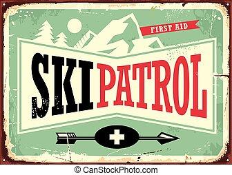 Ski patrol retro sign design with mountain shape and ski...