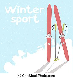 ski, paysage hiver