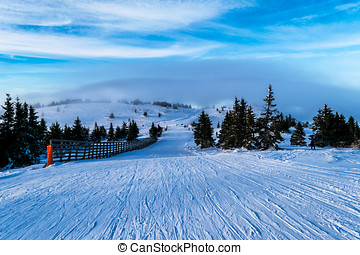 Ski piste in winter