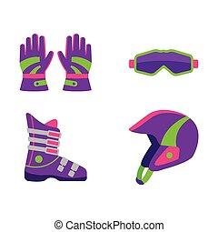 ski, plat, style, snowboarding, équipement