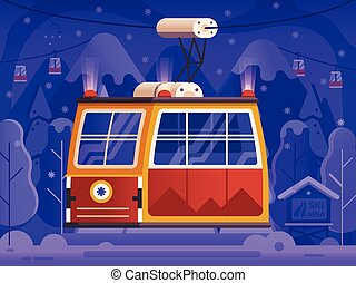 Ski Red Cable Car Winter Holidays Scene