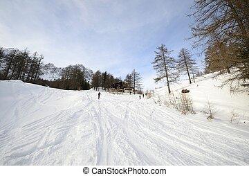 ski, reis, helling, dichtbij, alpien, hut