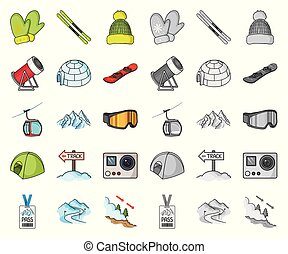 Ski resort and equipment cartoon,mono icons in set...