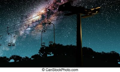 ski resort and Milky Way stars at night. Elements of this image furnished by NASA