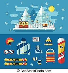 Ski Resort and Winter Activity Flat Pictograms