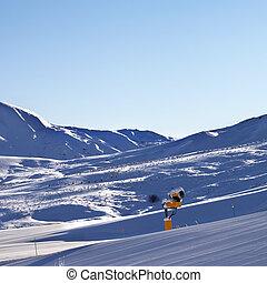 Ski resort at early morning - Snowy ski resort at early...