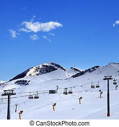 Ski resort at evening. Caucasus Mountains in winter,...