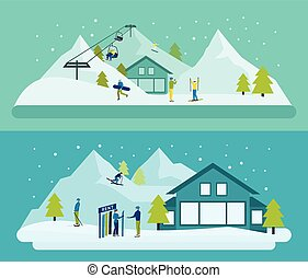 Ski Resort Banner Set